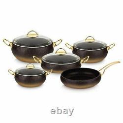 Oms Ustensiles De Cuisine Anti Stick Granite Copper Set, Verre Couvercles Casserole Casserole Pan Pot, 9 Pièces