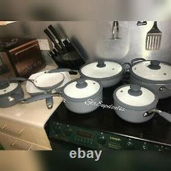 Pan Set 7 Piece Professional Grey Cookware Sauce Pan Frying Non Stick Nouveau