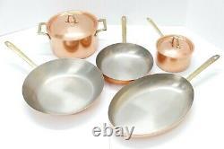 Paul Revere Signature Collection 7 Piece Solide Batterie De Cuisine En Cuivre Set Pan Pot Couvercles