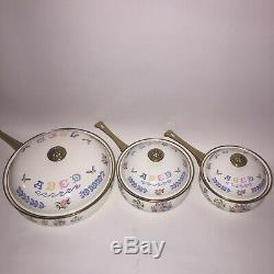 Pays Fleur Vintage Vaisselle Émaillée Pot Couvercle Poignées En Laiton Pan 6 Piece Set Tl