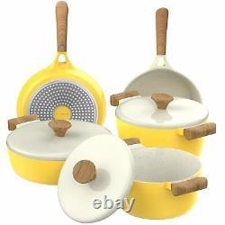 Pots D'induction Antiadhésifs En Céramique Jaune Et Poignée De Style Bois De Casserole 8 Pièces