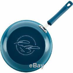 Rachael Ray 15 Pièces Dur Émail Batterie De Cuisine En Aluminium Antiadhésives Bleu Marine