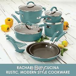 Rachael Ray 16344 Cucina Batterie De Cuisine Antiadhésives Casseroles Et Poêles Set 12 Pièces Agave Bleu