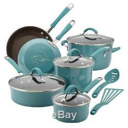 Rachael Ray Cucina Batterie De Cuisine Antiadhésive De 12 Pièces En Émail Dur, Bleu Agave 1634