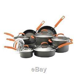 Rachael Ray Dur Anodisée Batterie De Cuisine 14 Pièces Avec Orange Poignées 87000