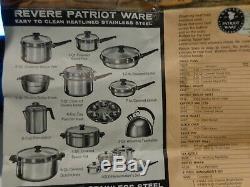 Rare Revere Ware Patriot 11 Piece Set De Cuisine Non Utilisée Avec Des Autocollants