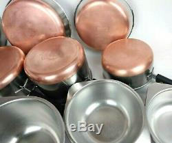 Revere Ware 16 Piece Set 1801 Copper Bottom Pots Pans Couvercles Tous Pre 1968