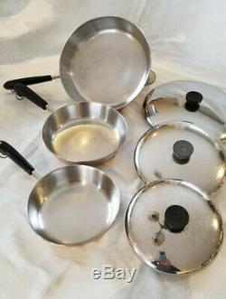 Revere Ware 17 Piece Set 1801 Cuivre Bas, Sauce Casseroles, Poêles, Couvercles, Vapeur