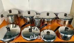 Revere Ware 17-piece Pre-1968 Set Cuivre Clad Cooking Pots Pan Lids & Percolator