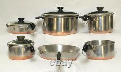 Revere Ware 1801 Copper Bottom 10 Piece Set 4 Pots, 2 Poêles Et Couvercles S'adaptent À Tous