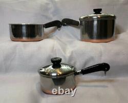 Revere Ware 1801 Copper Bottom 11 Piece Set 4 Pots, 3 Poêles Et Couvercles S'adaptent À Tous