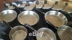 Revere Ware 19 Piece Set États-unis Cuivre Bas, Sauce Casseroles, Poêles, Couvercles, Vapeur