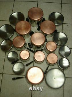 Revere Ware 20 Piece Set 1801 Pots De Stock De Fond De Cuivre, Casseroles Et Couvercles Tous Euc