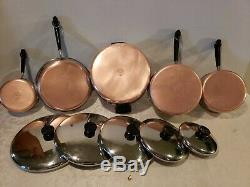 Revere Ware Copper Bottom 10 Piece Cookware Set Skillets, Sauce Casseroles, # 6