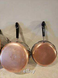 Revere Ware Copper Bottom 10 Piece Cookware Set Skillets, Sauce Casseroles, # 7