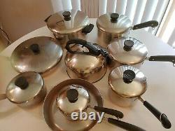 Revere Ware Copper Bottom 16 Pieces Set Vintage Pots & Pans Cuisinière