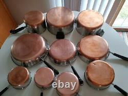 Revere Ware Copper Bottom 17 Pieces Set Vintage Pots & Pans Cuisinière