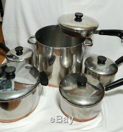 Revere Ware Copper Bottom Casseroles Et Poêles Set 11 Pièces 12qt, Poêlon, Stock Pot