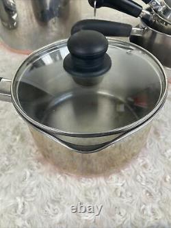 Revere Ware Copper Clad Bottom 11 Piece Set Pots Frying Pans Lids Clinton Etats-unis