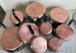 Revere Ware Copper Clad Bottom 14 Piece Set Pots Frying Pans Lids Dutch Oven