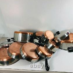 Revere Ware Pré-1968 Copper Clad Bottom 12 Piece Lot Set Pots Pans Lids Skillets