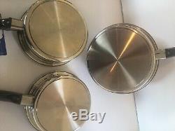 Royal Prestige 7 Plis Ss Argent Titane Batterie De Cuisine 6 Pièces Inoxydable Casserole États-unis