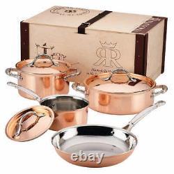 Ruffoni Symphonia Cupra Martelé À La Main 7 Pièces Copper Clad Cookware Set