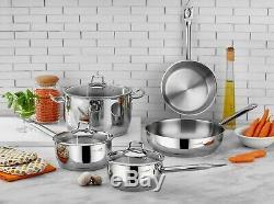 Saflon Tri-ply En Acier Inoxydable Bas 8 Pièces Batterie De Cuisine À Induction Prêt
