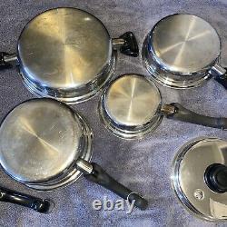 Saladmaster Cookware 9 Piece Set Casseroles Couvercles Double Boiler Tp304-316 Système 7