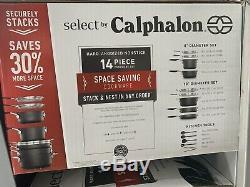 Sélection Par Calphalon Espace Set Saving Dur Anodisée Batterie De Cuisine Antiadhésives, 14 Pièces