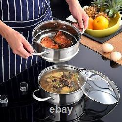 Set De Vaisselle Velaze Saucepan En Acier Inoxydable Casserole Pot Frypans Avec Couvercle En Verre