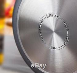 Stellar 6000 5 Piece Dur Anodisée Non Stick Set Pan Avec Couvercles, Induction Batterie De Cuisine