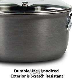 T-fal Anodisé Batterie De Cuisine Antiadhésives Casseroles Et Poêles Set 14 Pièces Thermo-spot