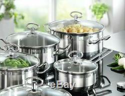 Table De Cuisson Induction Casseroles Pan Set 20 Pièces En Acier Inoxydable Cuisine Pots Bols Nouveau