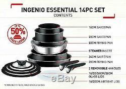 Tefal 14 Piece Essential Ingenio Pots Antiadhésives Et Frypan Batterie De Cuisine Setblacknew