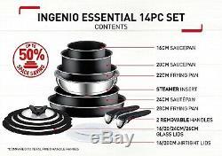 Tefal Batterie De Cuisine En Faïence Avec Poêle À Frire Ingenio Essential, 14 Pièces, Noir