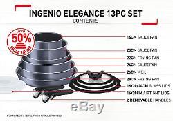 Tefal Ingenio Antiadhésif Elegance Batterie De Cuisine, 13 Pièces, Noir