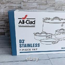 Tous Les Clad D3 18/10 Acier Inoxydable 7 Pièces Pc Tri-ply Ensemble D'articles De Cuisine Nouveau