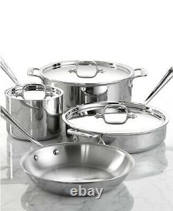 Tout Nouveau All Clad D3 18/10 Acier Inoxydable 7 Pc Piece Tri-ply Cookware Set