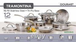 Tramontina 12-piece Gourmet Tri-ply Base Kitchen Cookware Set Acier Inoxydable