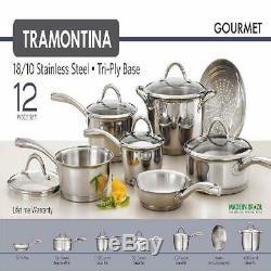 Tramontina Gourmet Tri-ply En Acier Inoxydable De Base Batterie De Cuisine, 12 Pièces