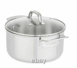 Viking 13 Pièces Tri-ply Stainless Steel Cookware Set Glass Lids Mirror Finish