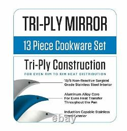 Viking 13 Pièces Tri-ply Stainless Steel Cookware Set Mirror Finish