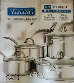 Viking Professional 13 Pièces En Acier Inoxydable 13pc Tri-ply Batterie De Cuisine Nouveau