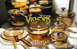 Vintage 11 Piece Ambre Corning / Pyrex Visions Cookware V-500 Set Avec Box Rare