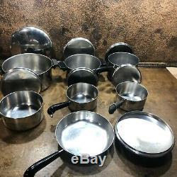 Vintage 14 Pièce Revere Ware Copper Clad Cookware Set Pot Poêles Poêle W Couvercles