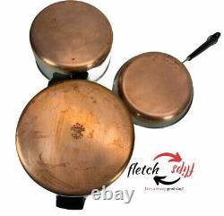 Vintage 16 Piece Revere Ware Copper Bottom Cookware Set Stock Pot Pans Lids