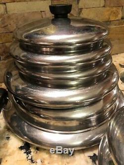 Vintage 20 Piece Revere Ware Copper Bottom Inoxydable 1801 Avant 1968 Batterie De Cuisine