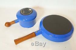 Vintage Dansk Kobenstyle Émail Bleu Batterie De Cuisine 8 Pièces Set / Excellent État