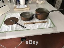 Vintage E Dehillerin Martelée Sauce Copper Pan 3 Pièces Ensemble